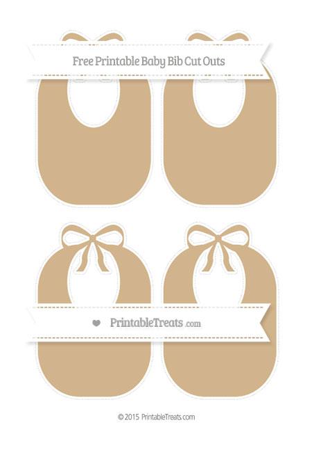Free Tan Medium Baby Bib Cut Outs