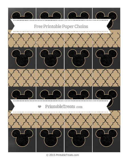 Free Tan Moroccan Tile Chalk Style Mickey Mouse Paper Chains
