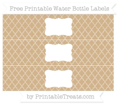 Free Tan Moroccan Tile Water Bottle Labels
