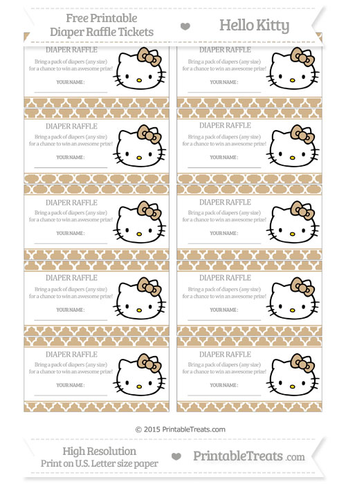 Free Tan Moroccan Tile Hello Kitty Diaper Raffle Tickets