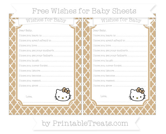 Free Tan Moroccan Tile Hello Kitty Wishes for Baby Sheets