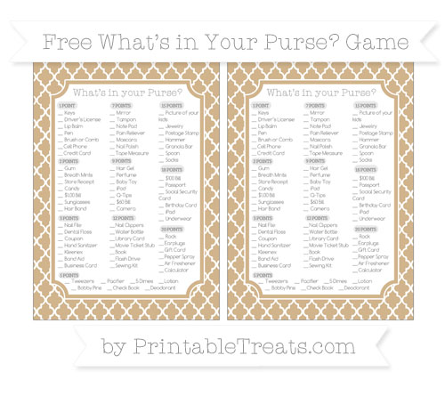 Free Tan Moroccan Tile What's in Your Purse Baby Shower Game