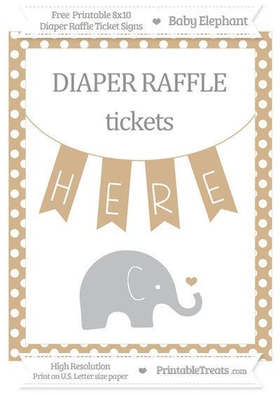 Free Tan Polka Dot Baby Elephant 8x10 Diaper Raffle Ticket Sign
