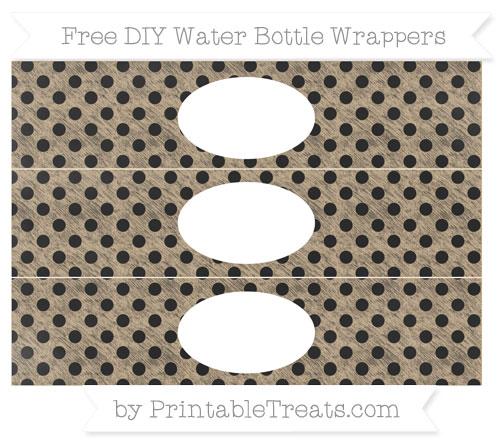 Free Tan Polka Dot Chalk Style DIY Water Bottle Wrappers