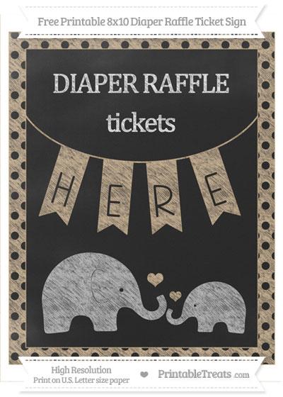 Free Tan Polka Dot Chalk Style Elephant 8x10 Diaper Raffle Ticket Sign