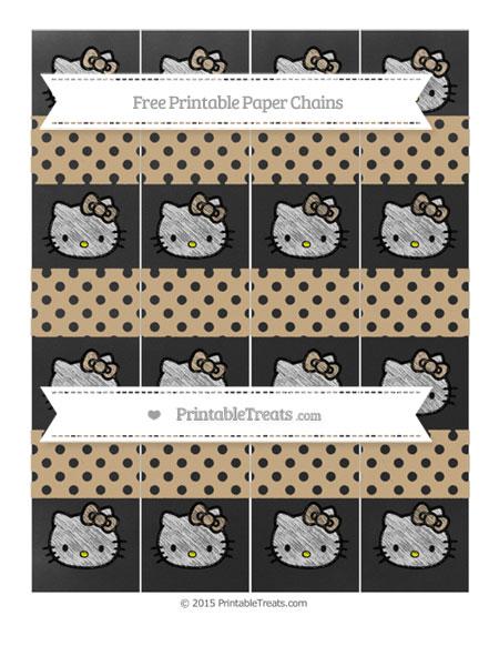 Free Tan Polka Dot Chalk Style Hello Kitty Paper Chains