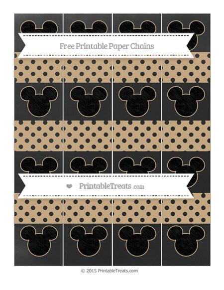 Free Tan Polka Dot Chalk Style Mickey Mouse Paper Chains