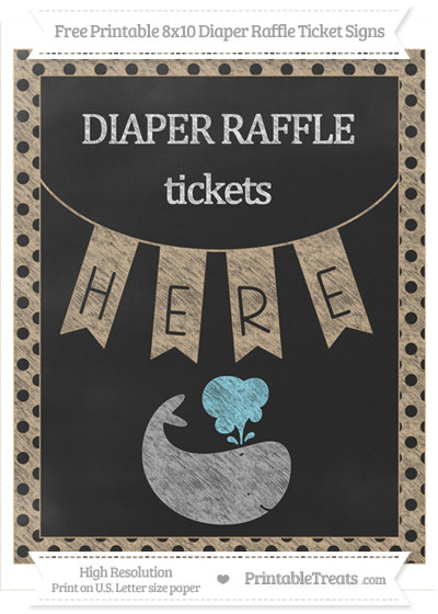 Free Tan Polka Dot Chalk Style Whale 8x10 Diaper Raffle Ticket Sign