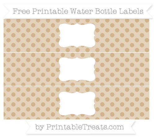 Free Tan Polka Dot Water Bottle Labels