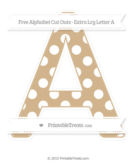 Free Tan Polka Dot Extra Large Capital Letter A Cut Outs