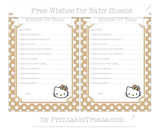 Free Tan Polka Dot Hello Kitty Wishes for Baby Sheets