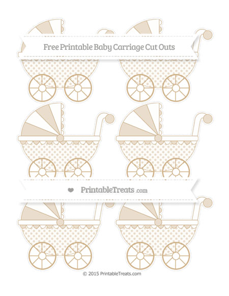 Free Tan Polka Dot Small Baby Carriage Cut Outs