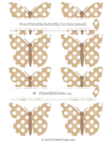 Free Tan Polka Dot Small Butterfly Cut Outs