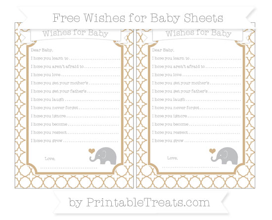 Free Tan Quatrefoil Pattern Baby Elephant Wishes for Baby Sheets