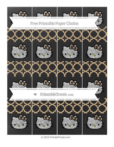 Free Tan Quatrefoil Pattern Chalk Style Hello Kitty Paper Chains