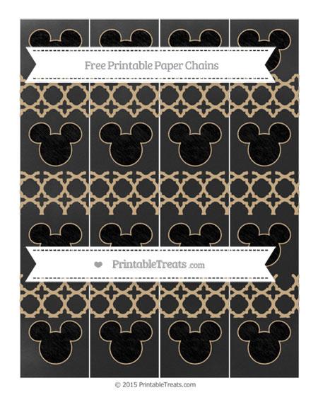 Free Tan Quatrefoil Pattern Chalk Style Mickey Mouse Paper Chains