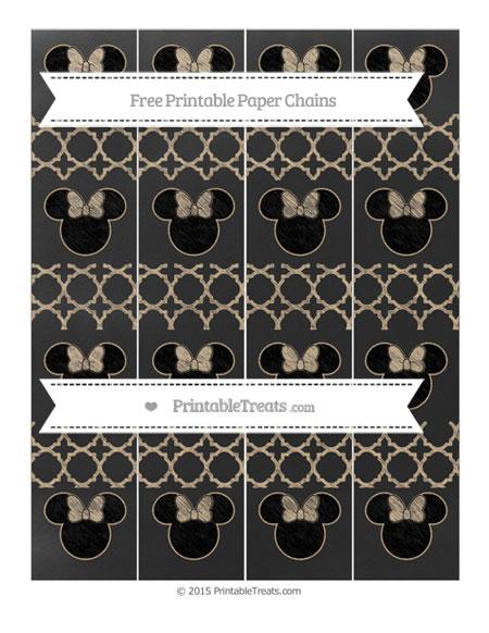 Free Tan Quatrefoil Pattern Chalk Style Minnie Mouse Paper Chains