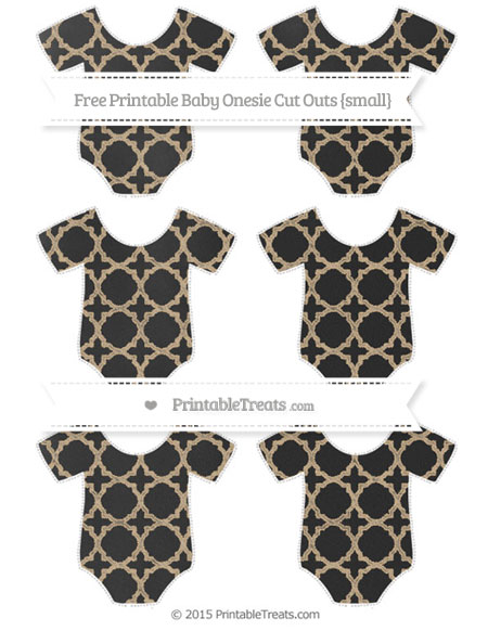 Free Tan Quatrefoil Pattern Chalk Style Small Baby Onesie Cut Outs
