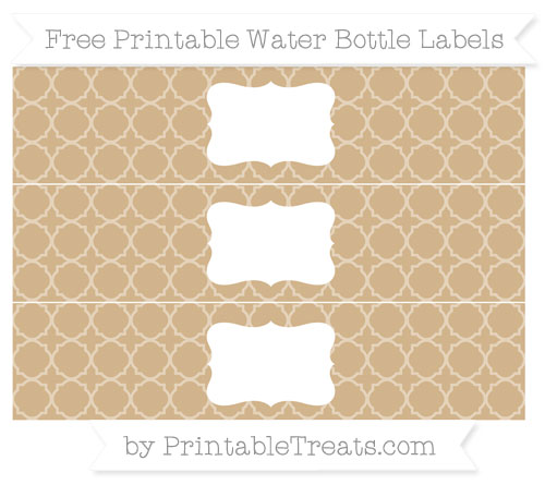 Free Tan Quatrefoil Pattern Water Bottle Labels