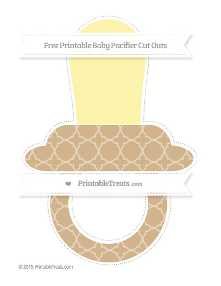 Free Tan Quatrefoil Pattern Extra Large Baby Pacifier Cut Outs