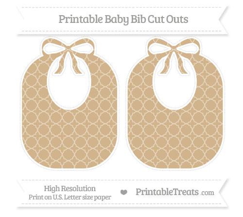 Free Tan Quatrefoil Pattern Large Baby Bib Cut Outs