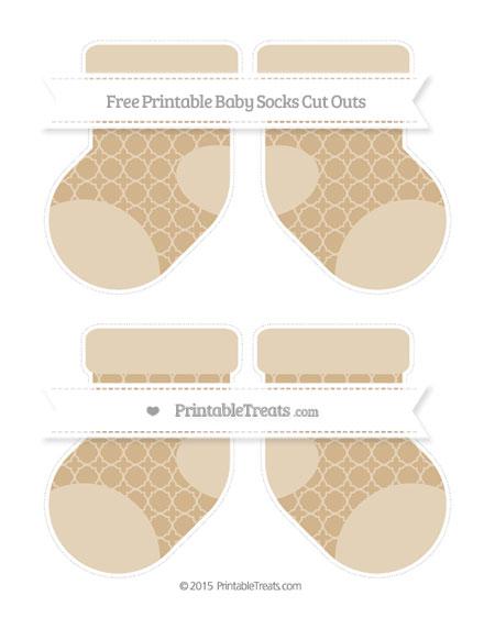 Free Tan Quatrefoil Pattern Medium Baby Socks Cut Outs