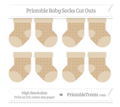 Free Tan Quatrefoil Pattern Small Baby Socks Cut Outs