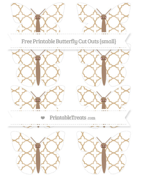 Free Tan Quatrefoil Pattern Small Smiley Butterfly Cut Outs