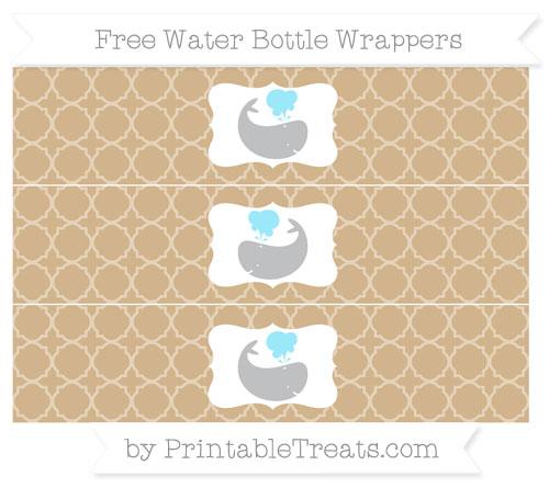 Free Tan Quatrefoil Pattern Whale Water Bottle Wrappers