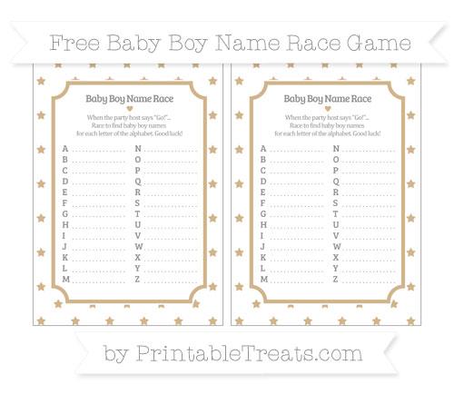 Free Tan Star Pattern Baby Boy Name Race Game