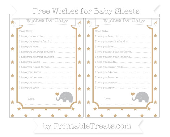 Free Tan Star Pattern Baby Elephant Wishes for Baby Sheets