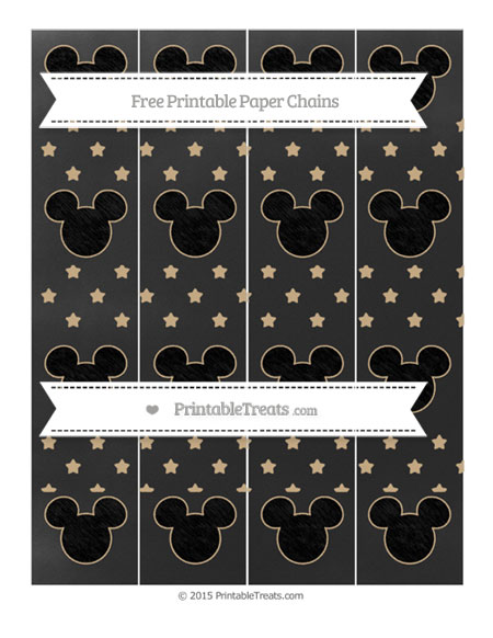 Free Tan Star Pattern Chalk Style Mickey Mouse Paper Chains