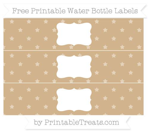 Free Tan Star Pattern Water Bottle Labels