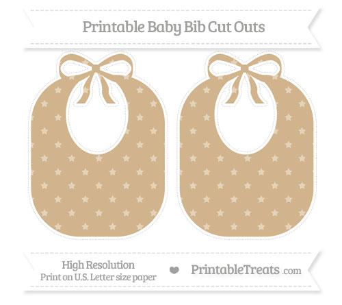 Free Tan Star Pattern Large Baby Bib Cut Outs