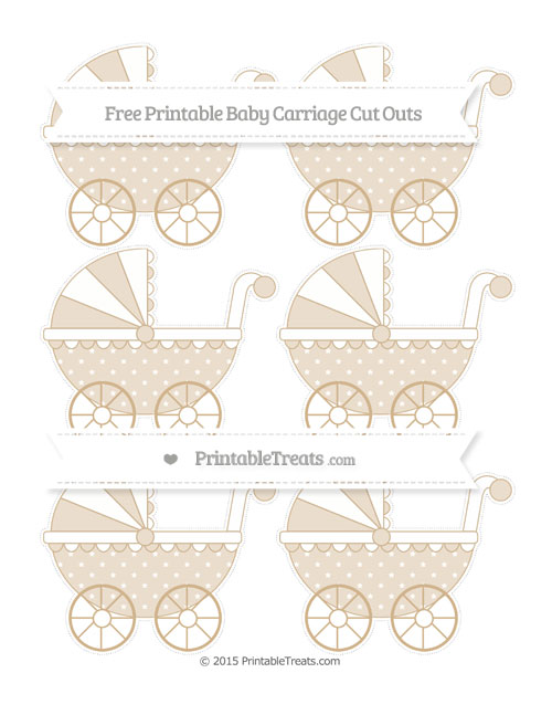 Free Tan Star Pattern Small Baby Carriage Cut Outs