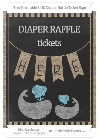 Free Tan Striped Chalk Style Baby Whale 8x10 Diaper Raffle Ticket Sign
