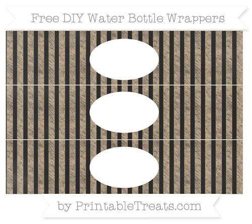 Free Tan Striped Chalk Style DIY Water Bottle Wrappers