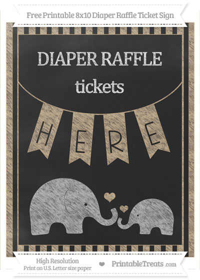Free Tan Striped Chalk Style Elephant 8x10 Diaper Raffle Ticket Sign