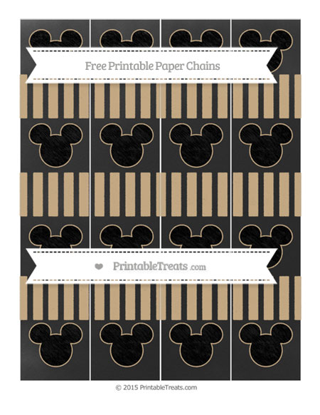 Free Tan Striped Chalk Style Mickey Mouse Paper Chains