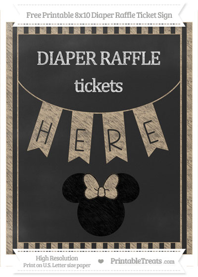 Free Tan Striped Chalk Style Minnie Mouse 8x10 Diaper Raffle Ticket Sign