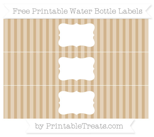 Free Tan Striped Water Bottle Labels