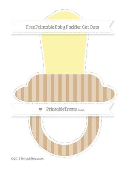 Free Tan Striped Extra Large Baby Pacifier Cut Outs