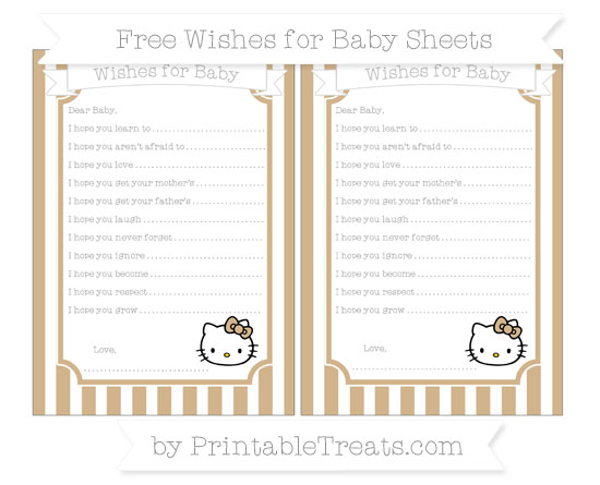 Free Tan Striped Hello Kitty Wishes for Baby Sheets