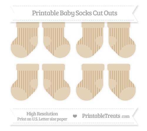 Free Tan Striped Small Baby Socks Cut Outs