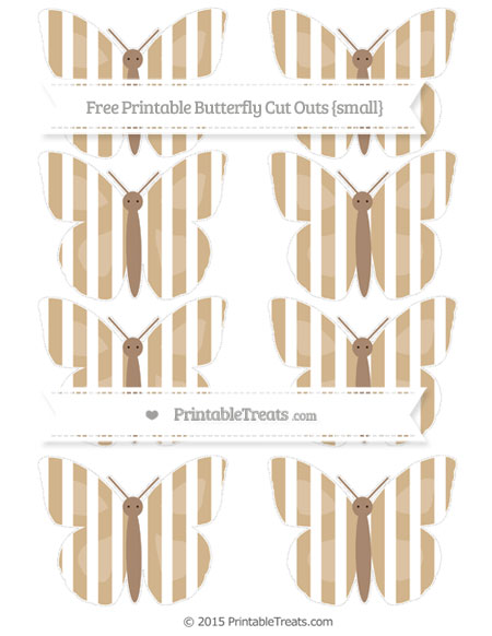 Free Tan Striped Small Butterfly Cut Outs