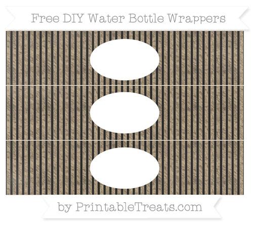 Free Tan Thin Striped Pattern Chalk Style DIY Water Bottle Wrappers