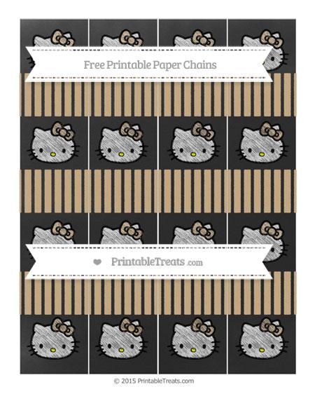 Free Tan Thin Striped Pattern Chalk Style Hello Kitty Paper Chains