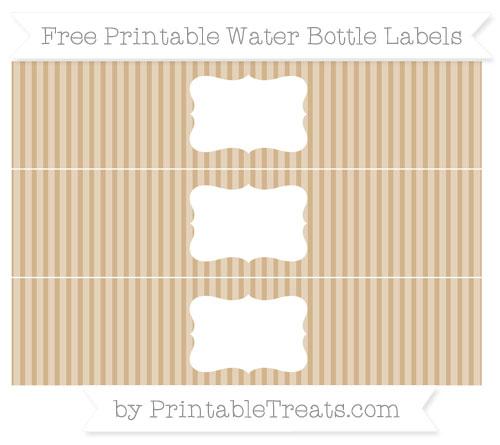 Free Tan Thin Striped Pattern Water Bottle Labels