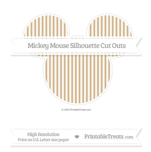 Free Tan Thin Striped Pattern Extra Large Mickey Mouse Silhouette Cut Outs
