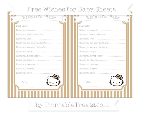 Free Tan Thin Striped Pattern Hello Kitty Wishes for Baby Sheets